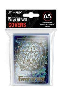 Gold Magic Circle Sleeve Covers for Force of Will 65ct with Hymnal's Memoria Promo