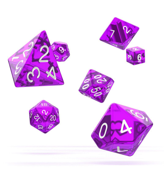oakie doakie DICE RPG Set Translucent - Purple (7)