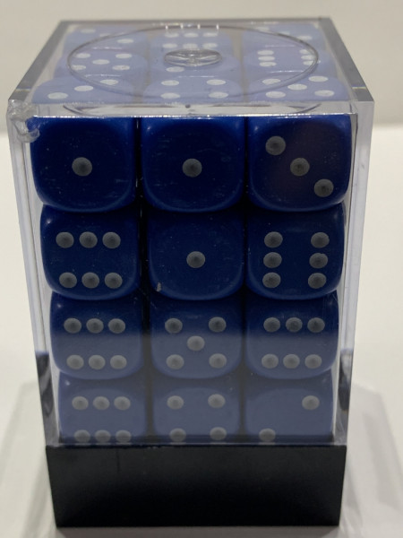 Pegasus Würfel - Opaque: Blau (36er-Set in Acrylbox)
