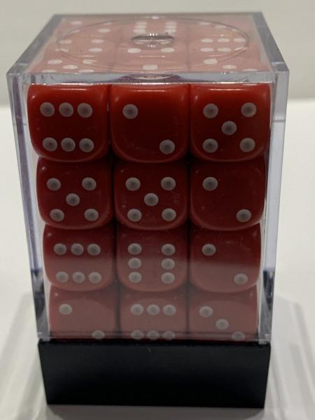Pegasus Würfel - Opaque: Rot (36er-Set in Acrylbox)