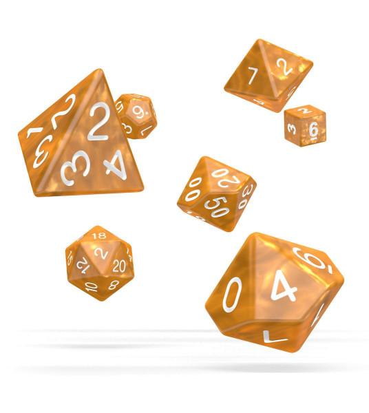 oakie doakie DICE RPG Set Marble - Orange (7)